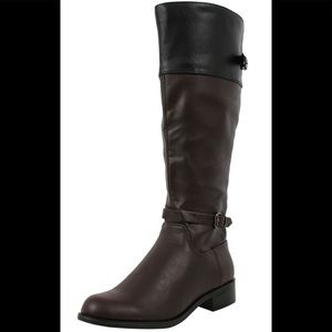 Shoes - Brown two tone knee high riding heel low heel boot